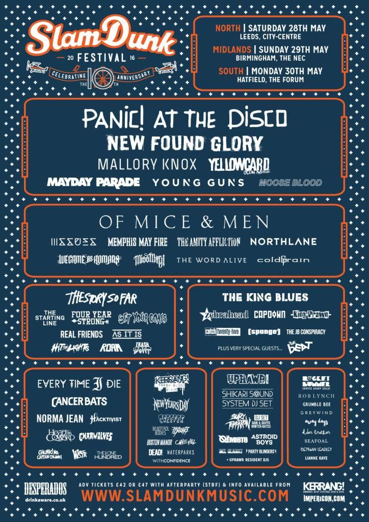 Slam Dunk Festival 2016 Stage Splits