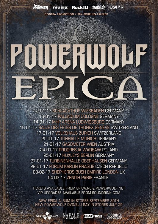 Epica and Powerwolf EU tour 2017