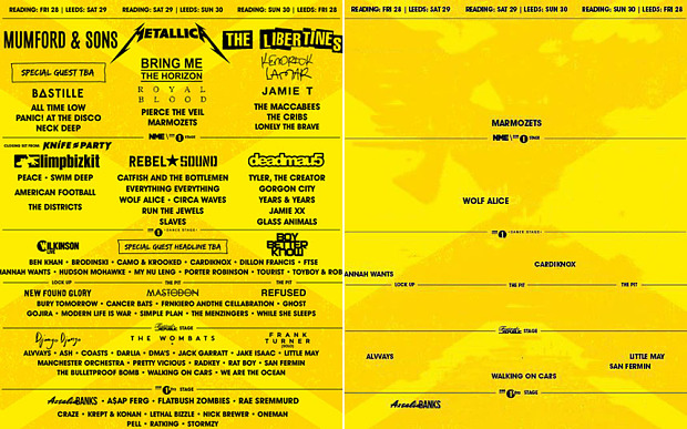 Reading & Leeds Festival 2015: The poster on the right has all the all-male acts edited out