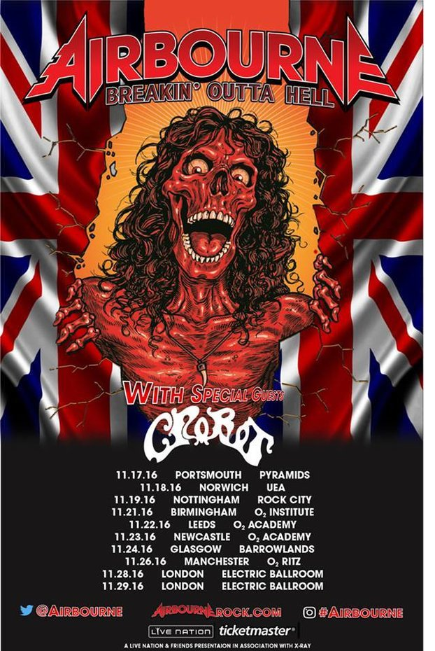 Airbourne and Crobot UK tour