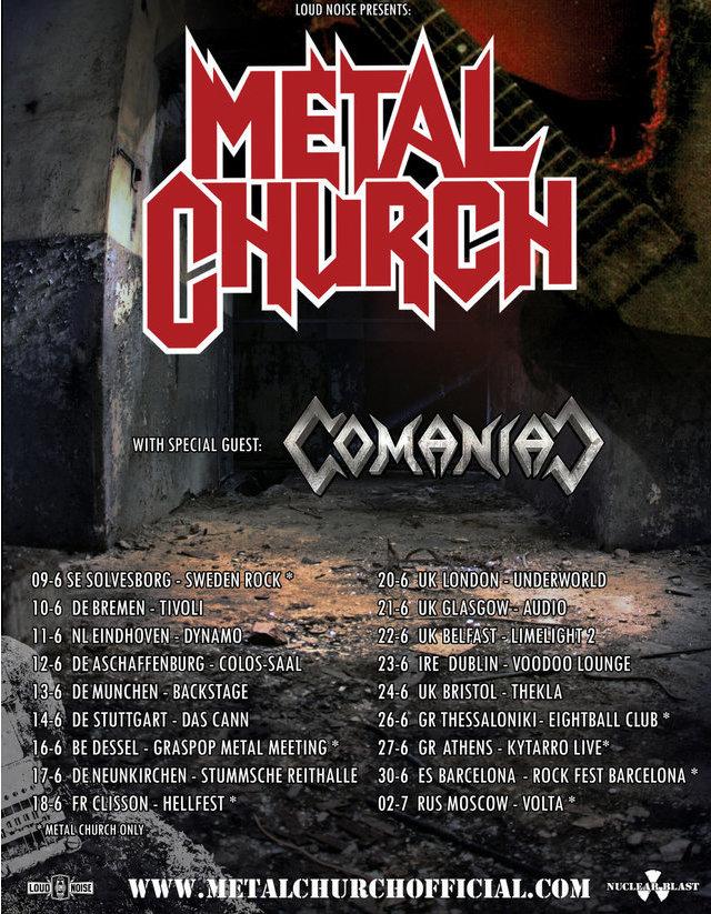 Metal Church EU tour dates 2017