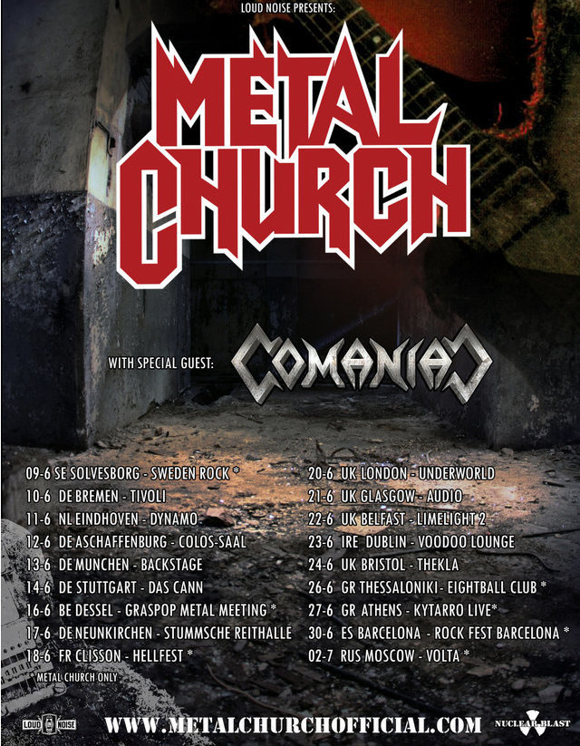 Metal Church EU tour dates 2017
