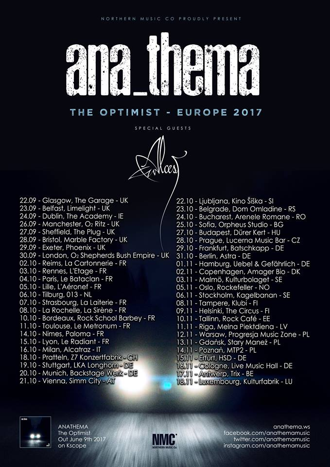 Anathema UK tour 2017