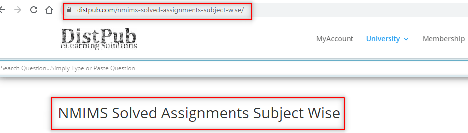 Step 1 Visit NMIMS Solved Assignment URL