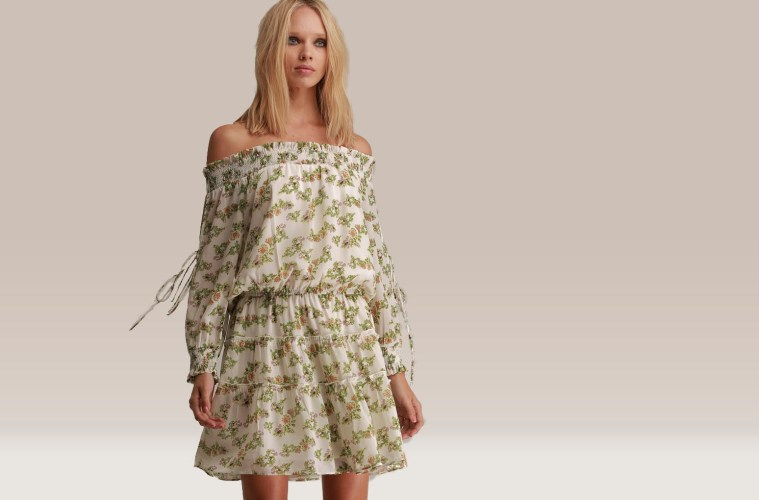Woman in Floral dress_design by Walter Baker_Fashion Designer_Distract TV Fashion