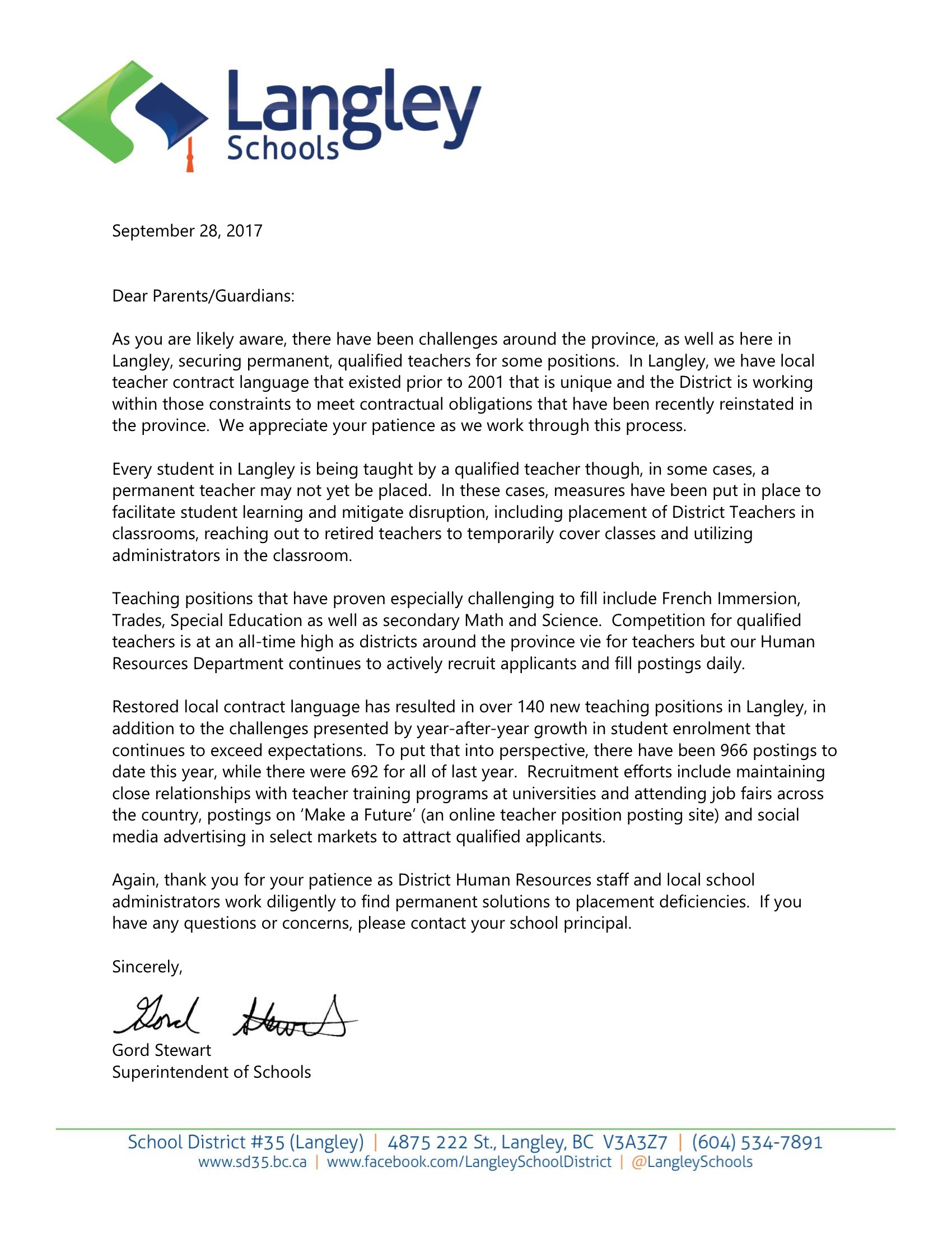 Letter To Parents School Start Up