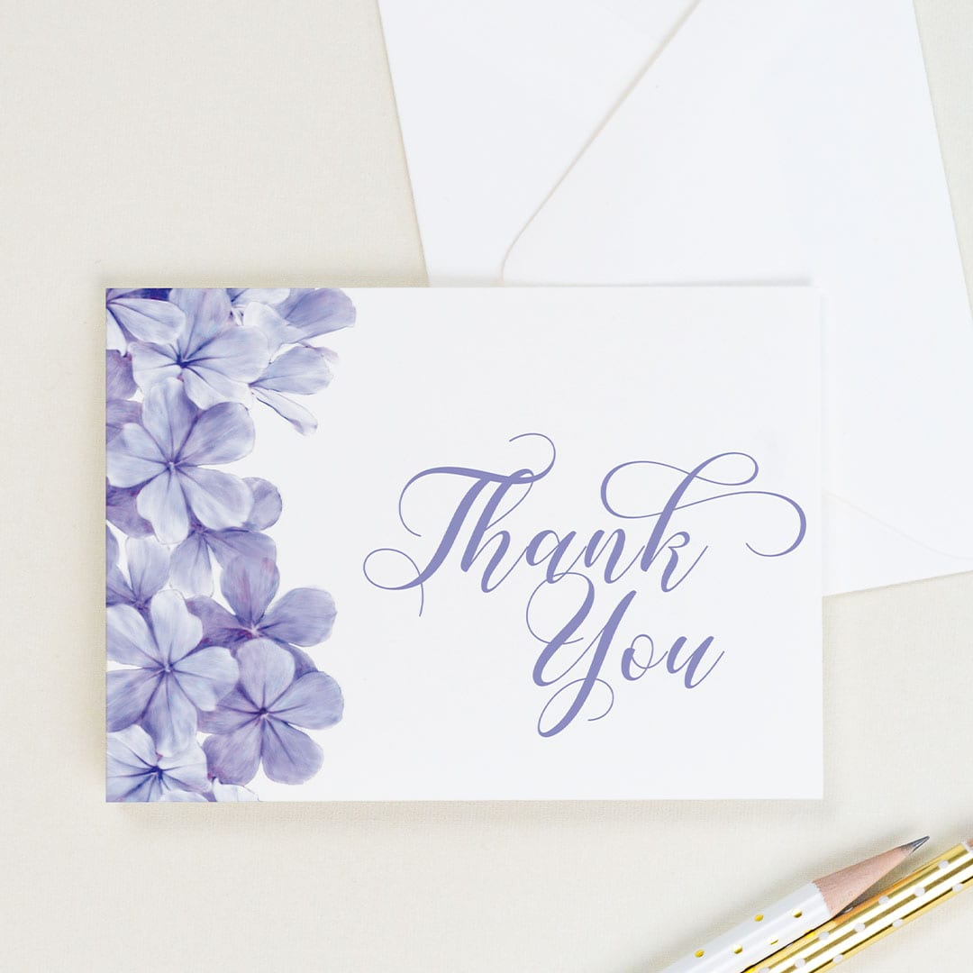 Handpainted floral thank you card in purple by CharmCat Creative | District Bliss Community Member