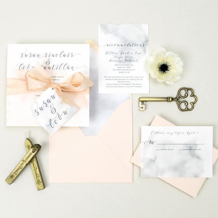 Grey and blush marble watercolor invitation suite handmade by CharmCat Creative