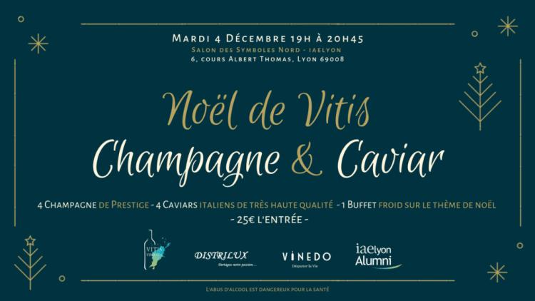 Caviar et Champagne à L'université Lyon 3, NOël de vitis Champagne et Caviar, dégustation caviar lyon, comment déguster caviar