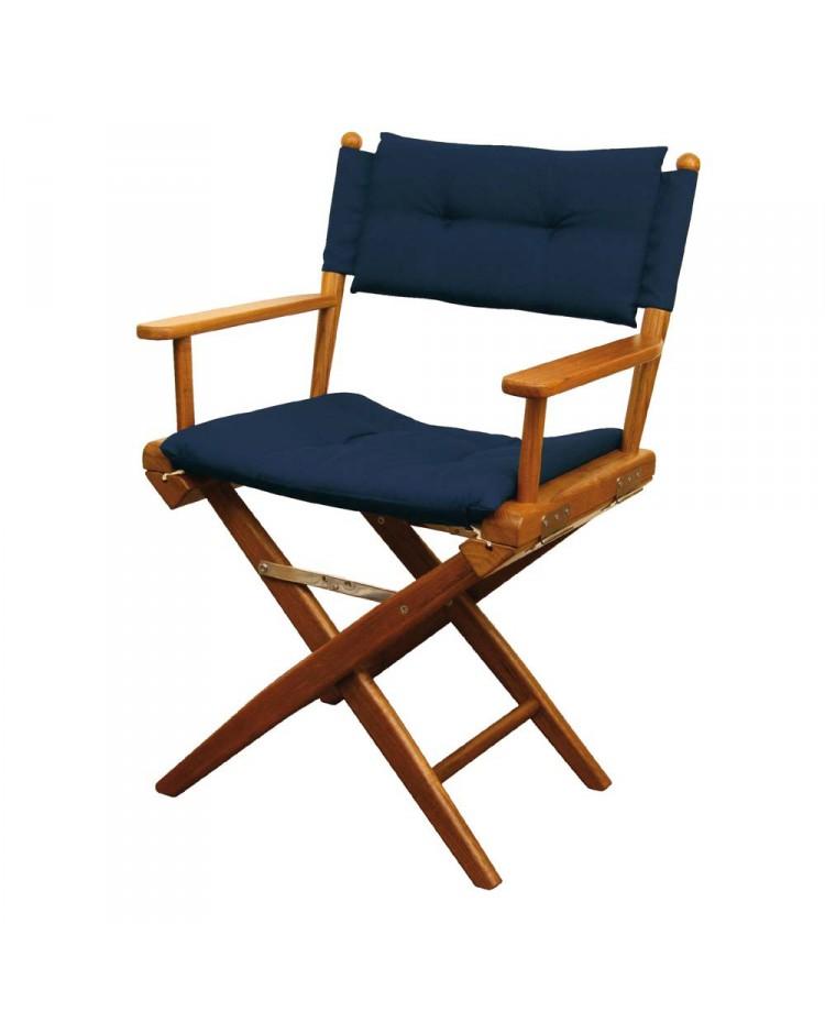 chaise regisseur teck toile rembourree bleue