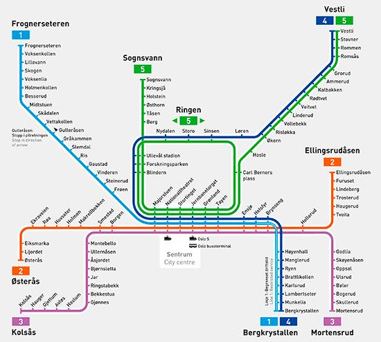 Metro map of Oslo