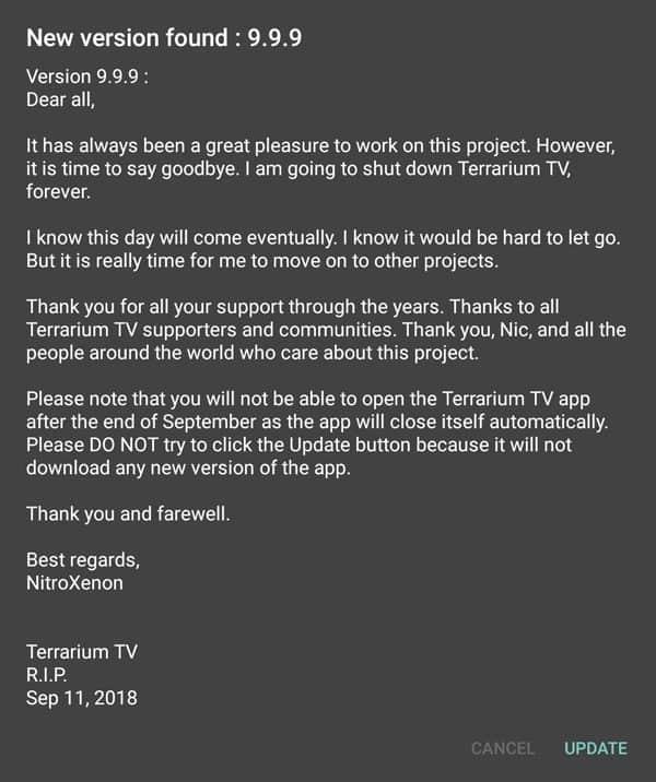 Now it's over for Terrarium TV!