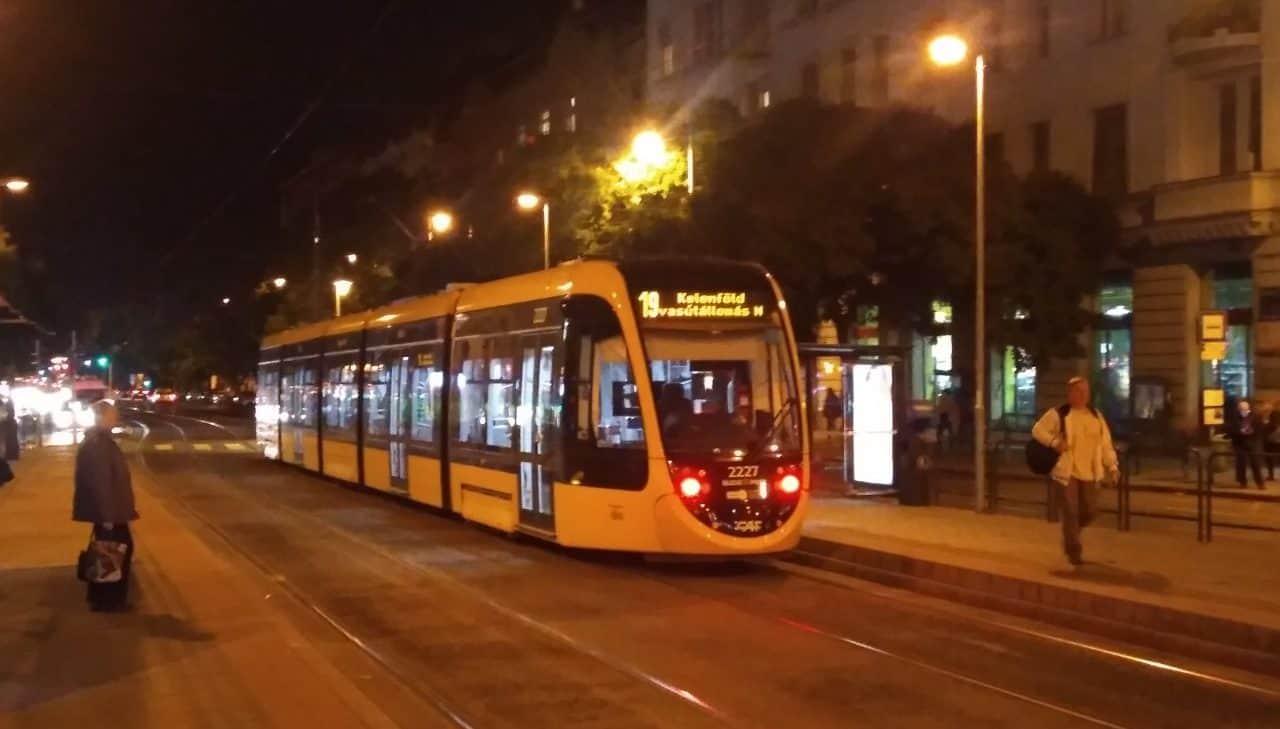 Light Rail tram in Budapest Hungary