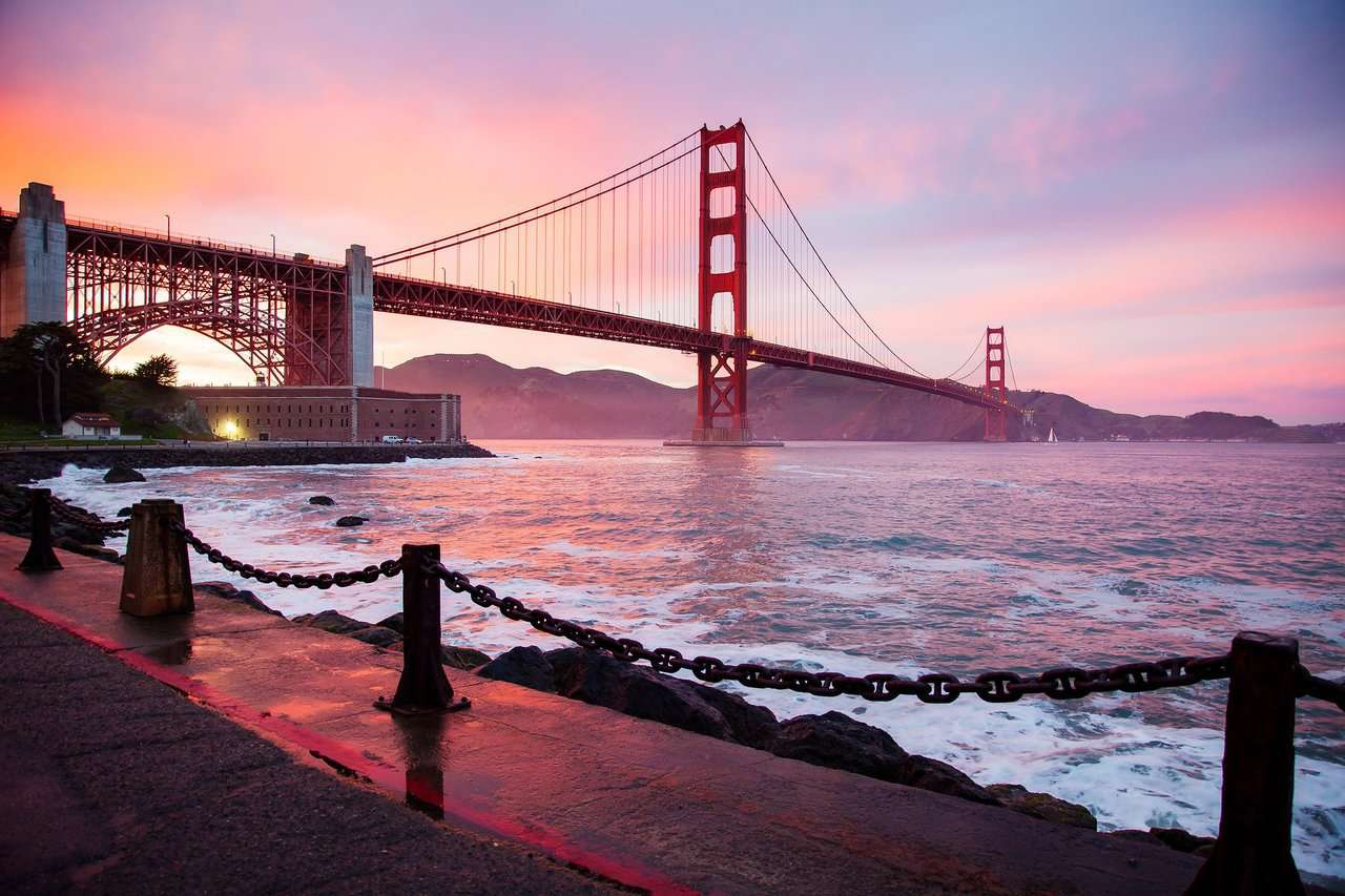 Golden Gate Bridge San Francisco, one of the most well-known bridges in the world