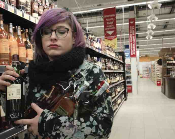 looking for wine in supermarket carrefour