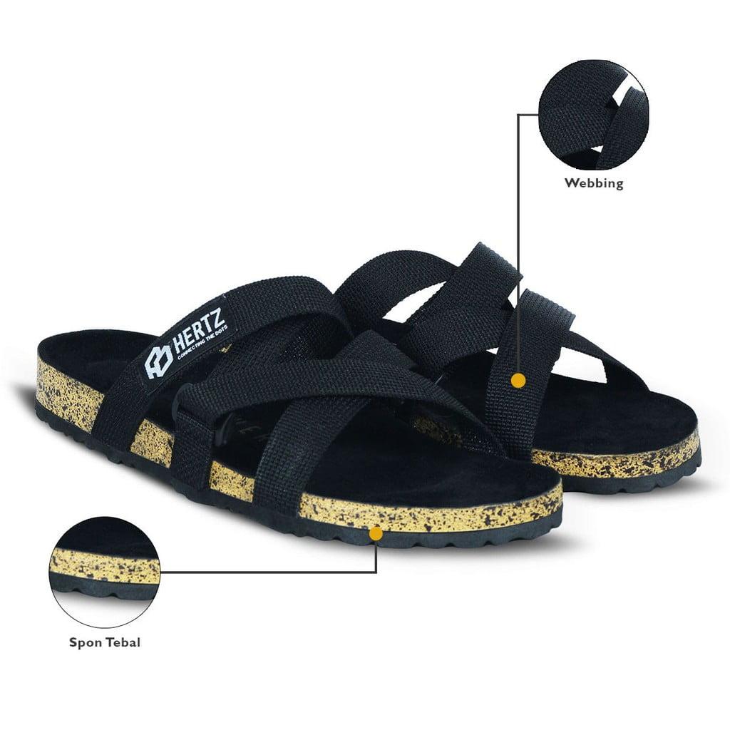 Sandal Pria Terbaru H 2878 Brand Hertz Sandal Puyuh Warna Hitam