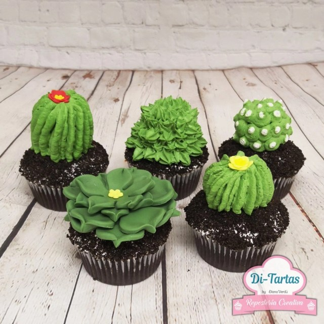 cupcakes cactus ditartas