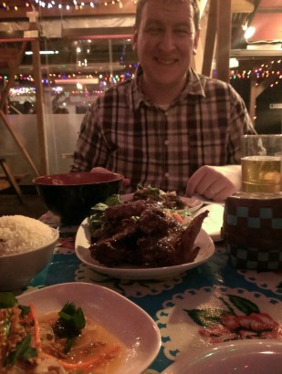 Jason's happy place - with a plate full of Pok Pok fish sauce wings