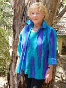 Womans Turquoise and Purple shirt in fine Australian merino wool handpainted in unique colours