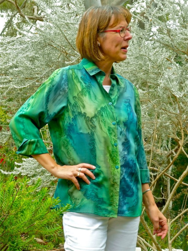 Womans Forest Green shirt in fine Australian merino wool handpainted in unique colours
