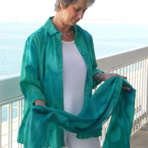 Womans Aqua shirt and wrap in fine Australian merino wool handpainted in unique colours