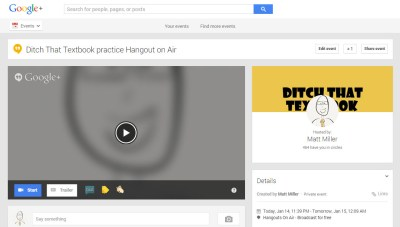 The Hangout On Air event page.