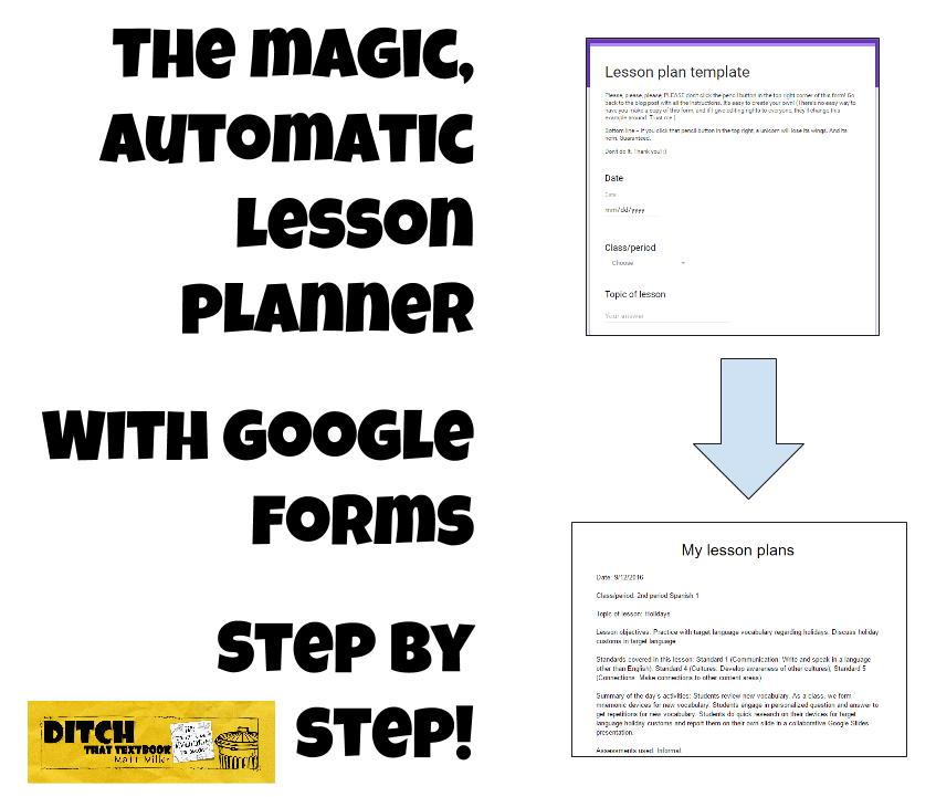 The Magic Automatic Lesson Planner with Google Forms | Ditch