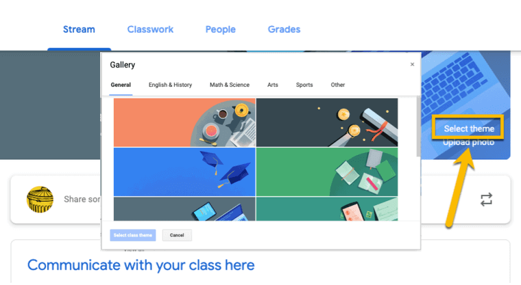 Select a theme in Google Classroom