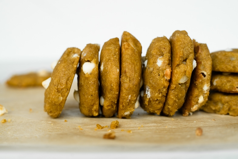 Gluten-free pumpkin cookies lined up like dominos.