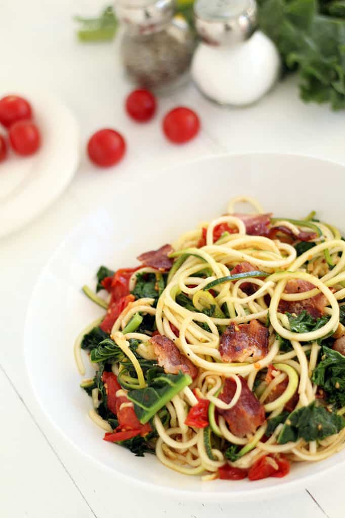 Spicy Bacon, Lettuce, and Roasted Tomato Zucchini Pasta