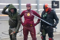 Green Arrow by Brian Worthington, The Flash by Michael Charles, Deathstroke by Sri Nair.