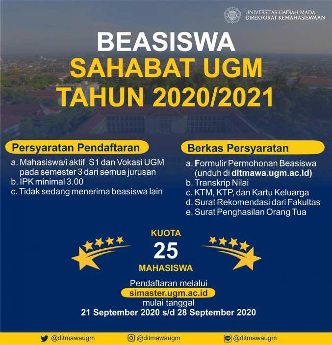 Pendaftaran Seleksi Beasiswa Ugm 2020 2021 Pengajuan Beasiswa