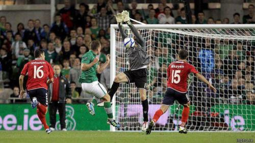 Armenian keeper Roman Berezovski during the decisive Armenia vs Ireland match during Euro-2012