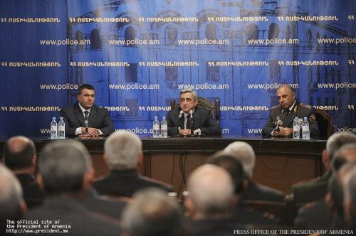 Armenia -- President Serzh Sargsian introduces new police chief to the top police officers, Yerevan, 01Nov2011
