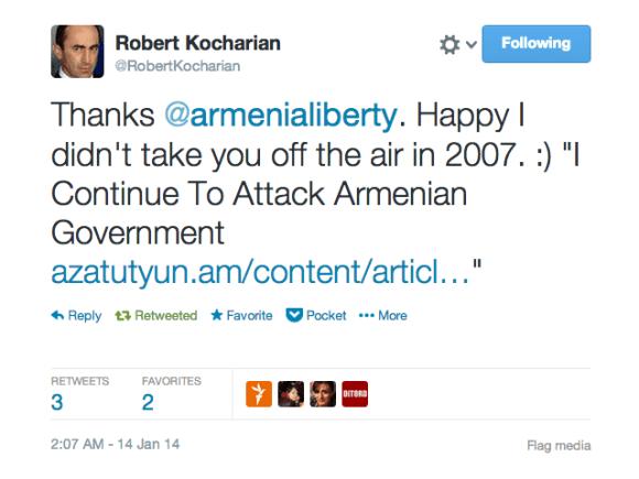 Armenia -- Screenshot of the funny twit by Twitter user Robert Kocharian, Yerevan, 14Jan2014
