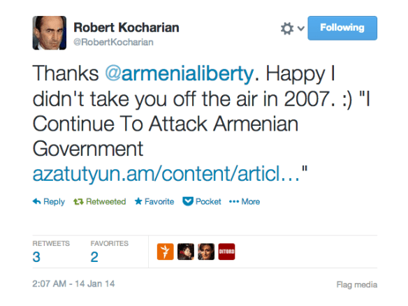 Armenia -- Screenshot of the funny twit by Twitter user Robert Kocharian, Yerevan, 14Jan2014