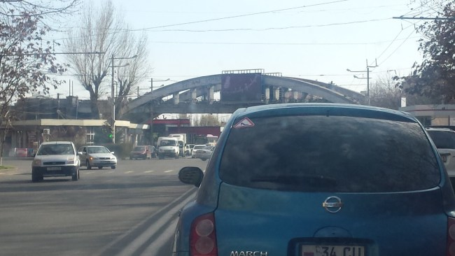 "Armenia — A car with the ""Warning! Female Driver"" sign attached, Yerevan, 21Mar2016"