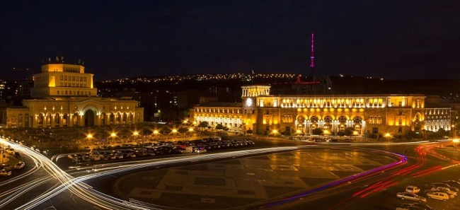 Yerevan's Republic Square by night, Photo by Sonanik