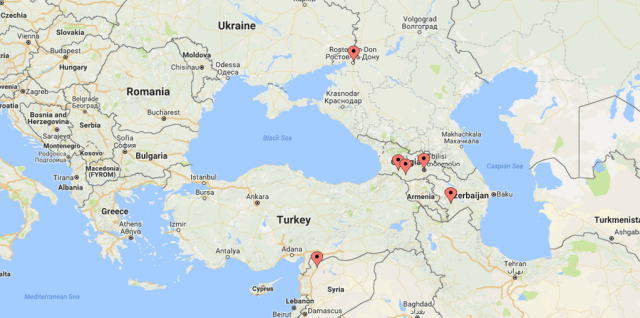 Birthplaces of all Armenian presidents and prime ministers