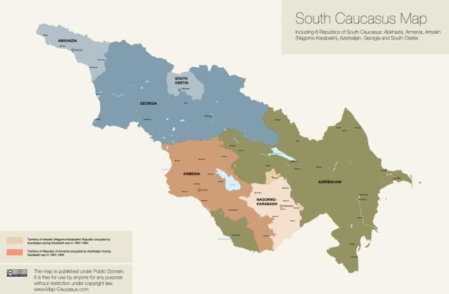 Map of South Caucasus