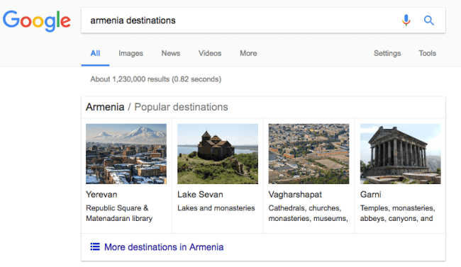Armenian destinations search on Google