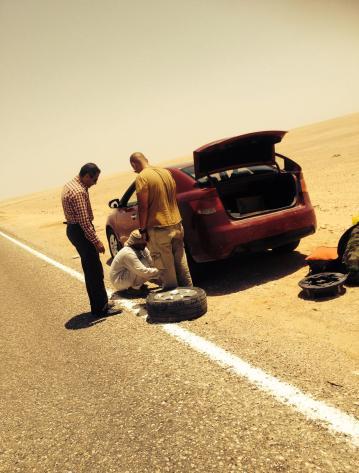 punktering i ørken