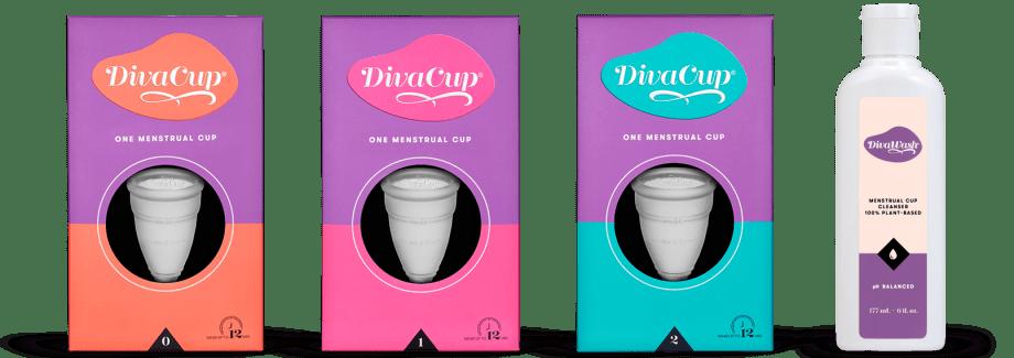 DivaCup Model 0, DivaCup Model 1, Divacup Model 2, and DivaWash