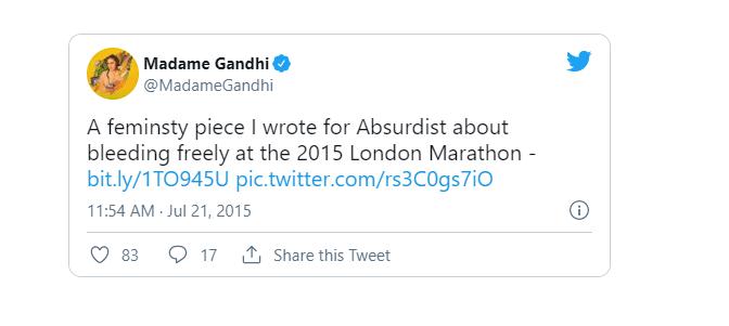 Madame Gandhi official tweet