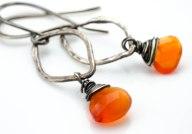Carnelian and Oxidized Silver Earrings