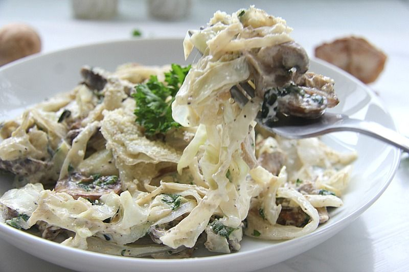 Creamy Cabbage with Mushrooms