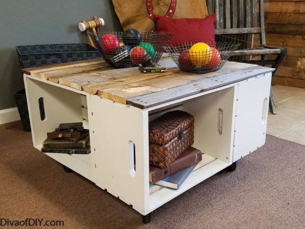 diy home decor: easy coffee table with storage | diva of diy