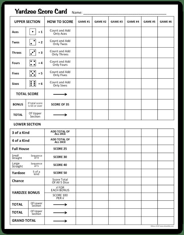 Yardzee Score Card Free Printable Diva Of Diy