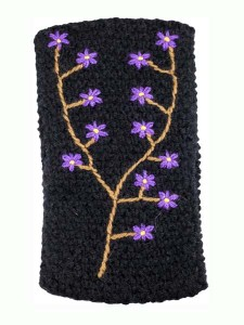 Embroidered Ear Warmer, Black, Alpaca Blend, winter Headbands for the whole family