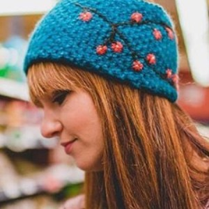 Embroidered Ear Warmer, Teal, Alpaca Blend, winter Headbands for the whole family